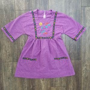 Vintage Floral Purple Dress Handmade - small